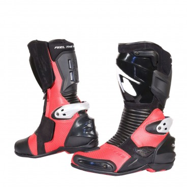 Spyke Totem 2.0 Leather Motorcycle Boots - Red